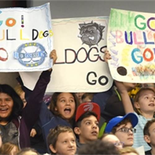 8,396 Catholic elementary school students took in the Bulldogs' Annual Literacy Game at FirstOntario Centre Wednesday morning. The Bulldogs took on the Owen Sound Attack, losing the game 5-2. Photo by Cathie Coward, The Hamilton Spectator.